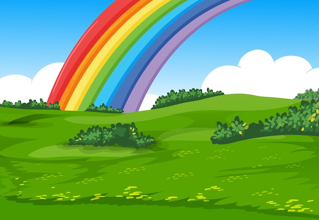 Arco iris colorido con estilo de dibujos animados de prado y cielo