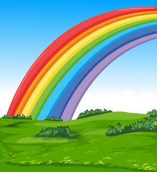 Arco iris colorido con fondo de estilo de dibujos animados de pradera y cielo
