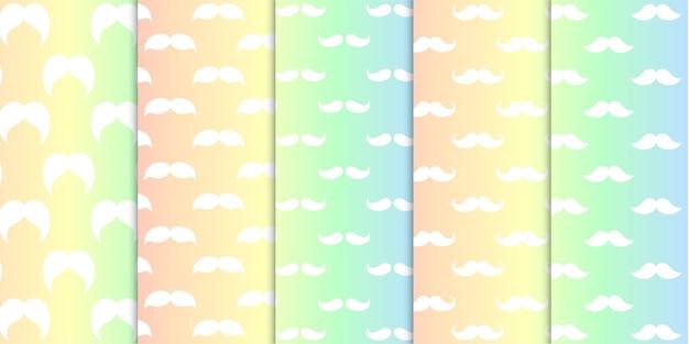 Arco iris colorido suave coloreado varias formas de bigotes sin patrón ilustración