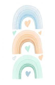 Arco iris y corazones dibujados a mano en colores pastel, diseño de carteles infantiles