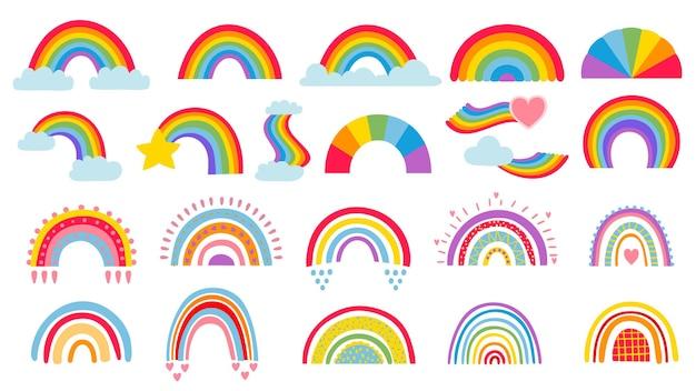 Arco iris de dibujos animados doodle. conjunto de ilustraciones dibujadas a mano.
