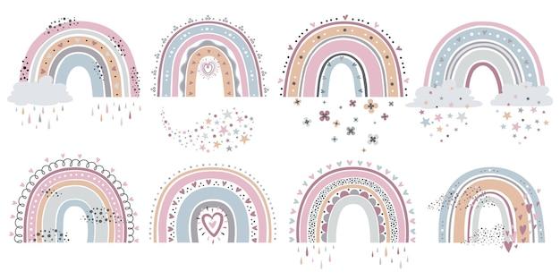 Arco iris de dibujos animados con nubes, flores y estrellas en colores pastel para textil