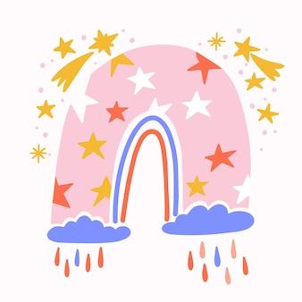 Arco iris de diseño plano ilustrado