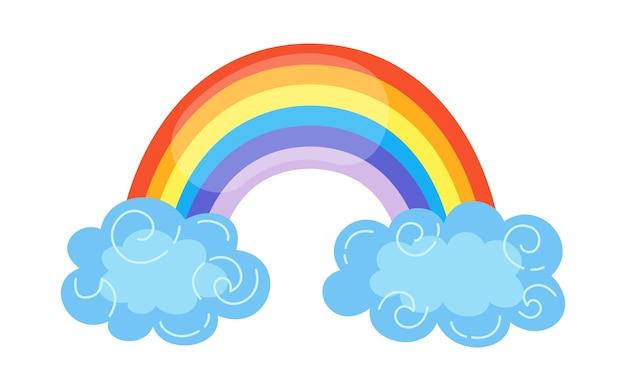 Arco iris con estilo de dibujos animados de nubes. resumen símbolo dibujado a mano de colores del arco iris plano. elemento meteorológico de naturaleza brillante lindo para niños. para impresión, cartulina, tela. aislado
