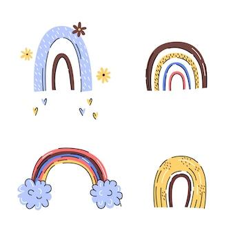 Arco iris estilo escandinavo dibujado a mano