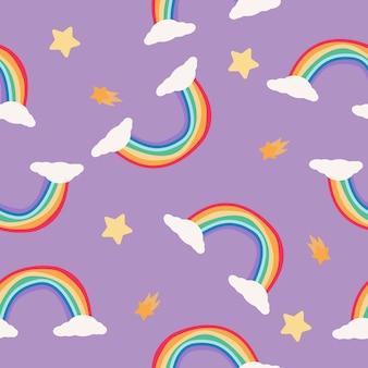 Arco iris y estrellas de patrones sin fisuras sobre fondo púrpura. estilo escandinavo
