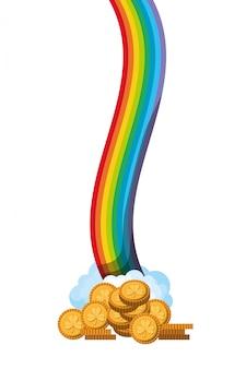 Arco iris con el icono de monedas aisladas