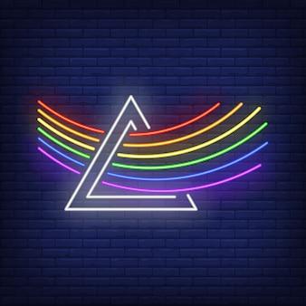 Arco iris lgbt pasando por el letrero de neón del prisma