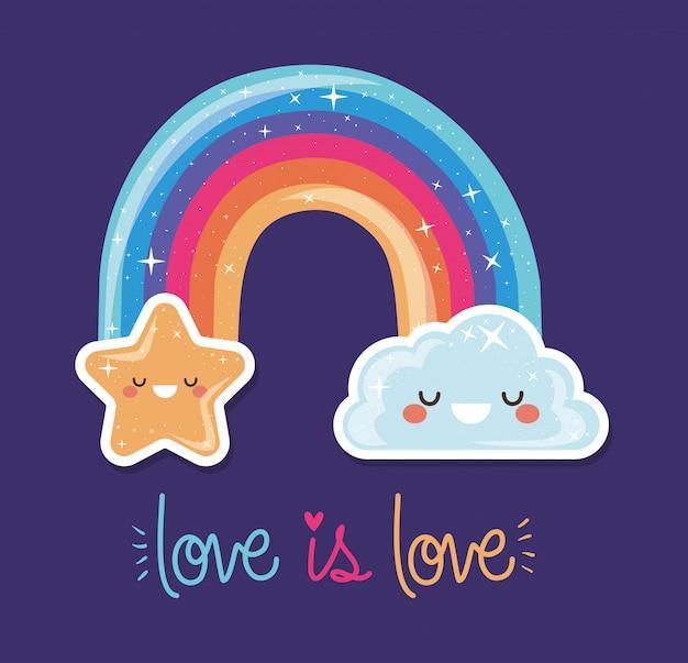 Arco iris lgtbi con diseño de nube kawaii y dibujos animados de estrellas