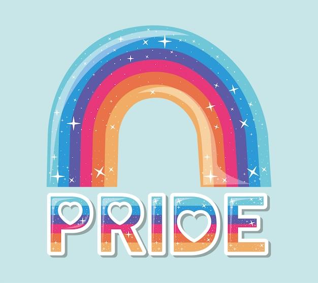 Arco iris lgtbi con diseño de texto de orgullo