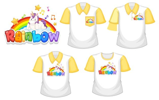 Arco iris con logo de unicornio y conjunto de diferentes camisetas blancas con mangas cortas amarillas aisladas sobre fondo blanco