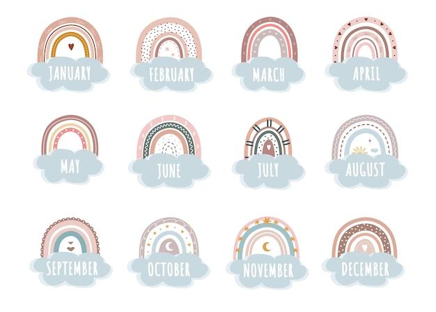 Arco iris de moda en calendario de estilo boho