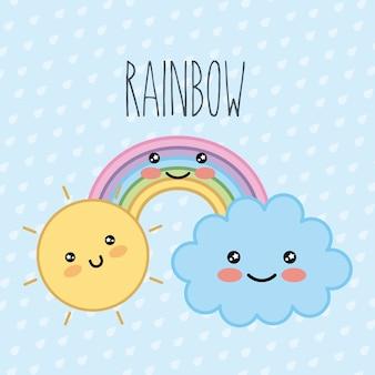 Arco iris nube sol kawaii dibujos animados puntos fondo