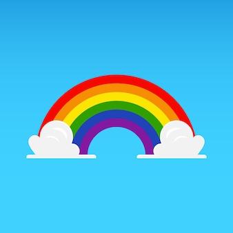 Arco iris con nubes en el cielo azul. ilustración vectorial