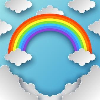 Arco iris y nubes con estilo papercut sobre fondo de cielo azul