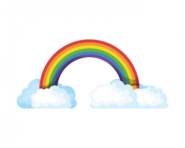Arco iris con nubes icono aislado