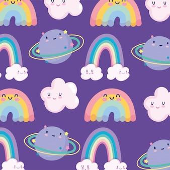 Arco iris nubes planeta cielo espacio magia dibujos animados decoración fondo vector ilustración