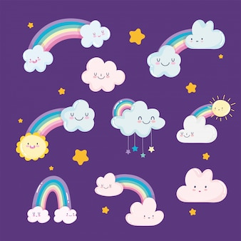 Arco iris nubes sol estrellas cielo sueño dibujos animados decoración vector ilustración