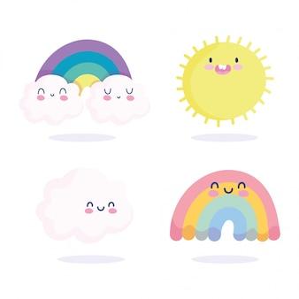 Arco iris nubes sol primavera temporada naturaleza dibujos animados decoración vector ilustración