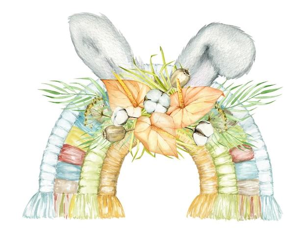 Arco iris, orejas de conejo, flores, hojas, secas, algodón y amapola. vacaciones de pascua en acuarela, en estilo boho.