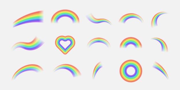 Arco iris realista brillante y arco iris de halo redondo