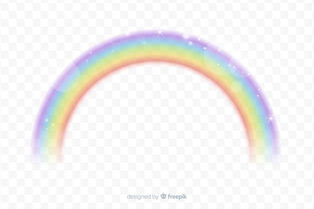 Arco iris realista con fondo transparente