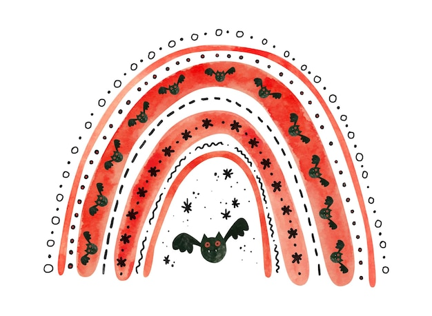 Arco iris rojo de halloween con murciélagos. linda ilustración acuarela para niños halloween.