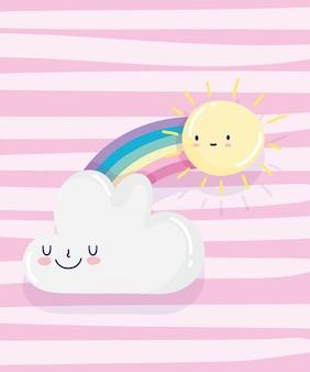 Arco iris sol nube dibujos animados decoración rayas rosadas fondo vector ilustración