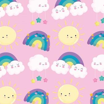 Arco iris sol nubes estrellas cielo sueño dibujos animados decoración fondo rosa ilustración vectorial
