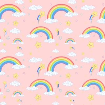 Arco iris transparente con patrón de nubes y estrellas sobre fondo rosa