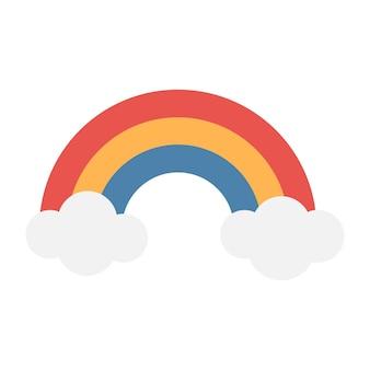 Arco iris tricolor de dibujos animados más simple con nubes. rojo, naranja, azul. ilustración de vector.
