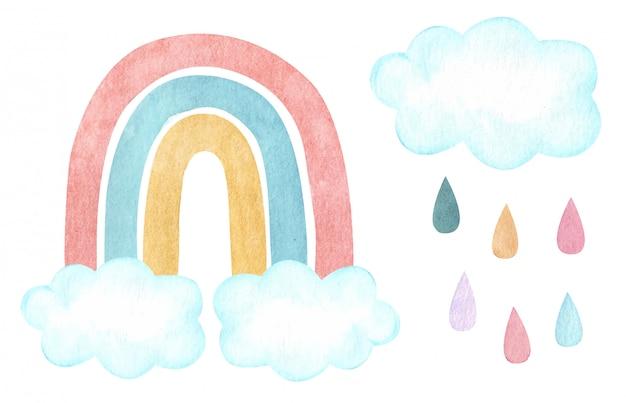 Arco iris vector acuarela con nubes y lluvia. vivero, ilustración de baby shower.