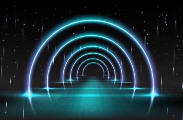 Arco de neón con efectos numéricos y destellos.