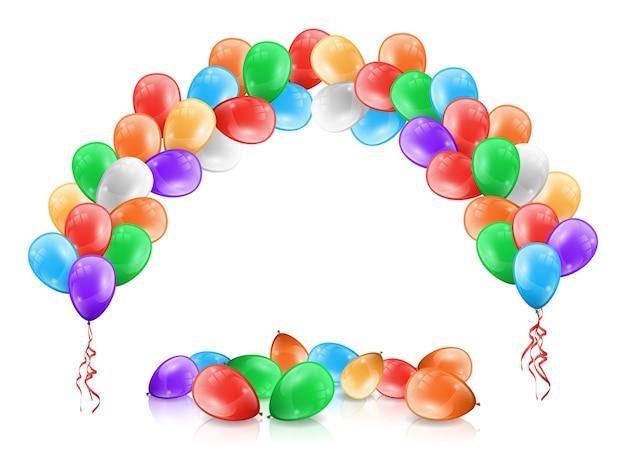 Arco o guirnalda de globos de colores para decoración de fiestas.