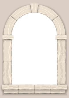 Arco en la pared de piedra de corte beige.
