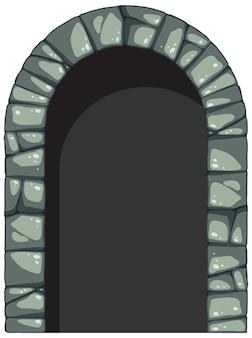 Arco de piedra en estilo de dibujos animados sobre fondo blanco.
