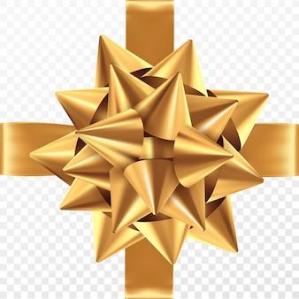 Arco de regalo de oro sobre un fondo transparente.