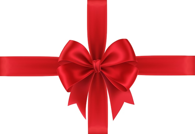 Arco de regalo rojo realista aislado sobre fondo blanco.