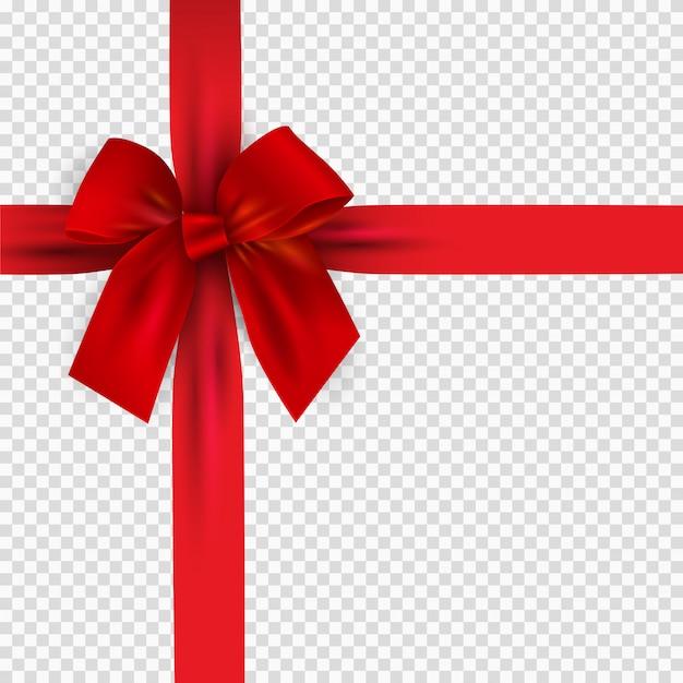 Arco rojo 3d realista y cinta aislada en transparente