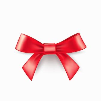 Arco rojo realista aislado sobre fondo blanco. diseño de plantilla de arco para el diseño. ilustración