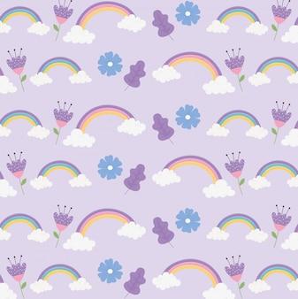Arcoiris nubes flores ornamento fantasía magia sueño linda dibujos animados decoración fondo ilustración
