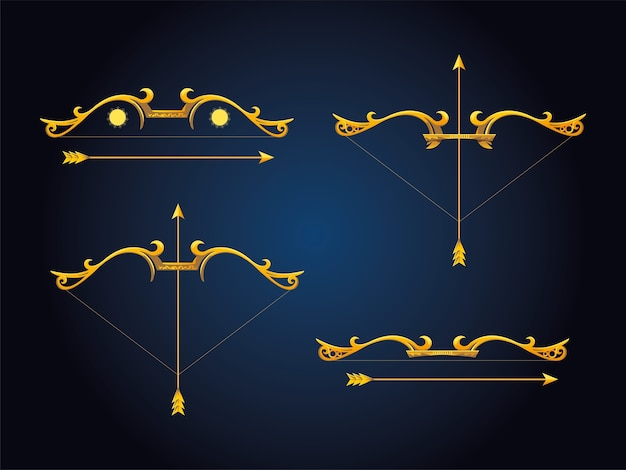 Arcos y flechas dorados sobre fondo azul.
