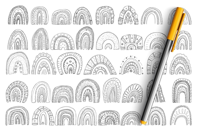 Arcos y formas de arco iris doodle conjunto. colección de formas de arcos dibujados a mano de diferentes tamaños de capas y patrones en filas aisladas.