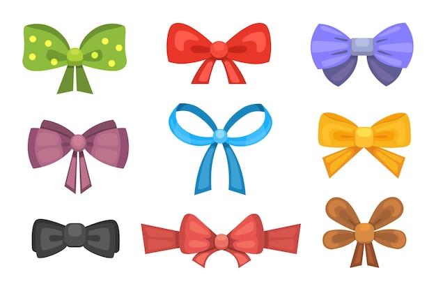 Arcos de regalo lindo de dibujos animados con cintas. corbata de mariposa de color.