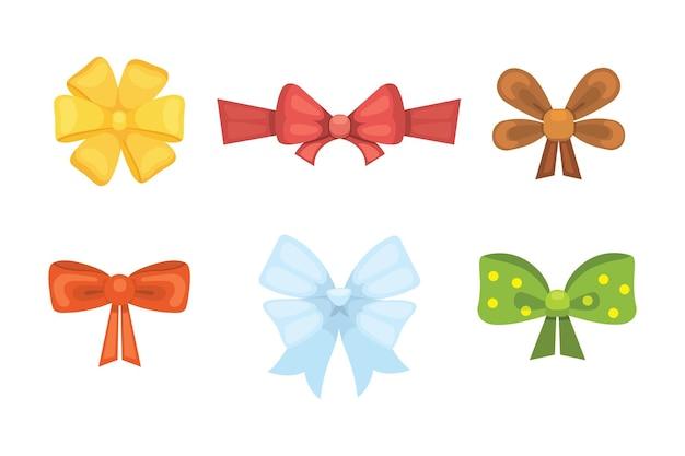 Arcos de regalo lindo de dibujos animados con cintas