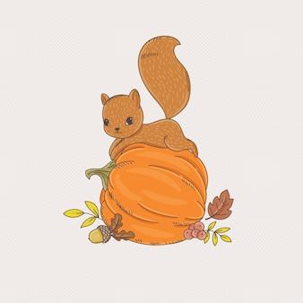 Ardilla linda que pone en la calabaza. ilustración de vector dibujado a mano