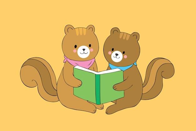 Las ardillas lindas de la historieta que leen el libro juntas vector.