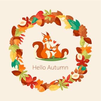 Las ardillas rodean las hojas de otoño, ramas, bellotas, nueces y hongos.