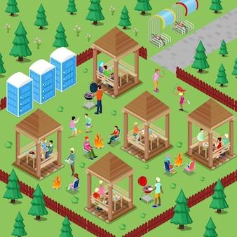 Área de barbacoa familiar en el bosque con gente activa cocinando carne y practicando deportes.