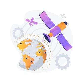 Área de cobertura gps. observación de la tierra. idea de comunicaciones espaciales, navegación por satélite en órbita, tecnologías modernas. espacio exterior, cosmos, universo. ilustración de metáfora de concepto aislado de vector